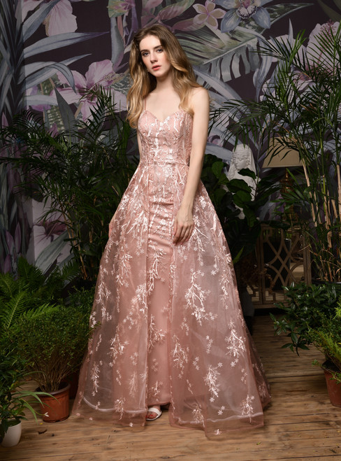 Fit Your Fashion Sense Pink Tulle Embroidery Lace Appliuqes Spaghetti Straps Prom Dress
