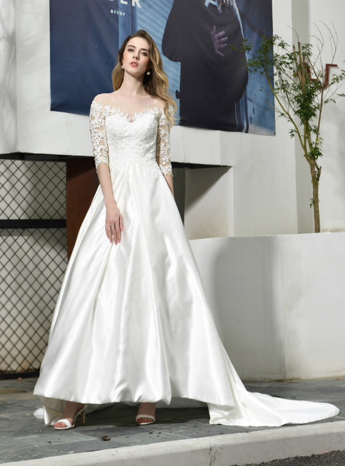 Will Be Available For Purchase White Ball Gown Satin 3/4 Sleeve Appliques Beading Wedding Dress