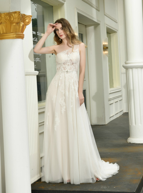 Come In All Styles And Colors A-Line Light Champagne Tulle Lace Appliques One Shoulder Wedding Dress