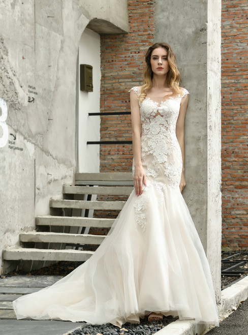 For You Next Prom Dance Light Champagne Mermaid Tulle Lace Appliques Cap Sleeve Wedding Dress