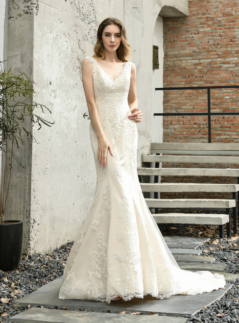 Looking For Cute And Stylish Champagne Mermaid Tulle Lace Appliques V-neck Wedding Dress