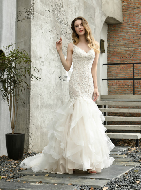 Shop Online Ivory Mermaid Tulle Lace Appliques V-neck Wedding Dress