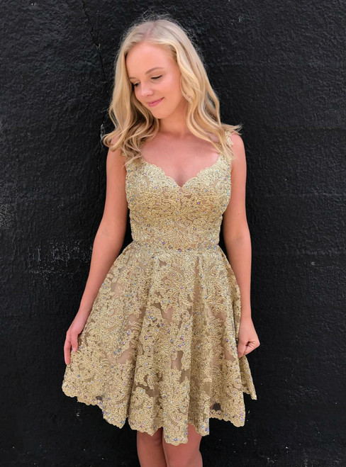Backless Short Homecoming Dress with Beaded Gold Lace