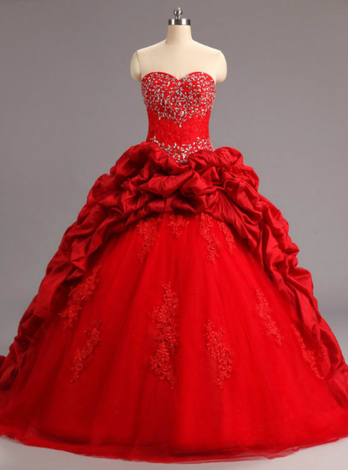 Red Ball Gowns Ruffles Tulle Taffeta Lace Appliques For 15 Year