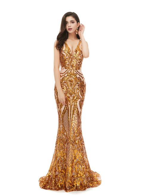 2020 Great Choice Gold Mermaid V-neck Gold Sequins Appliques Long Prom Dress