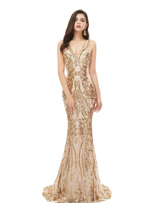 Biggest Sale Champagne Gold Mermaid V-neck Gold Sequins Long Prom Dress