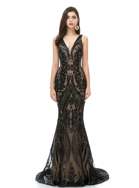 Find Plenty Of Black Mermaid Sequins V-neck Sleeveless Long Prom Dress