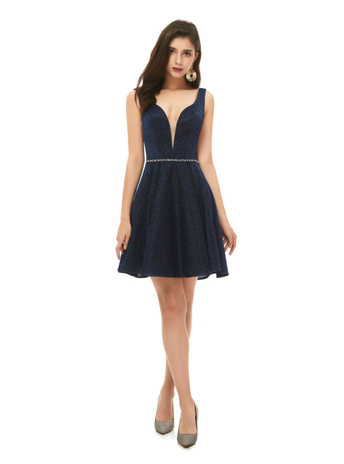 100% Custom Made A-Line Navy Blue V-neck Mini Short Beading Homecoming Dress