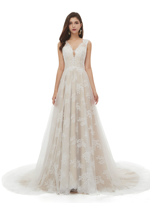 All Sizes Champagne Tulle Lace Deep V-neck Backless Pearls Wedding Dress