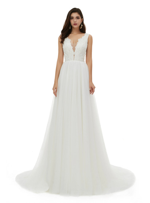 High Quality White Tulle Lace Appliques Deep V-neck Pearls Wedding Dress