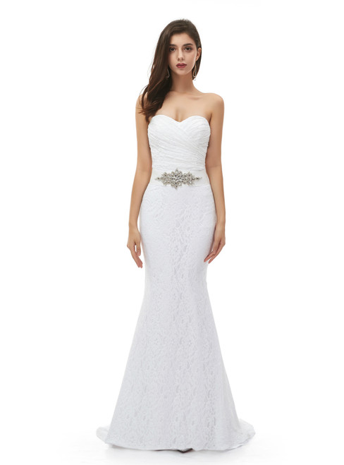 Low Price Guarantee White Mermaid Lace Sweetheart Pleats Wedding Dress With Belt