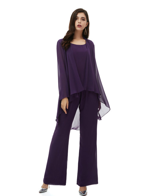Shop Sexy Purple Chiffon 3 Piece Mother of the Bride Dress With Coat