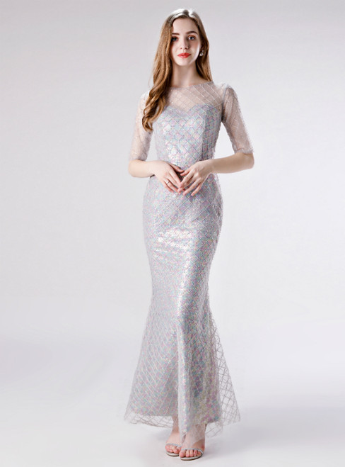 With 1000s Of Sexy Gray Mermaid Tulle Sequins Short Sleeve Prom Dress
