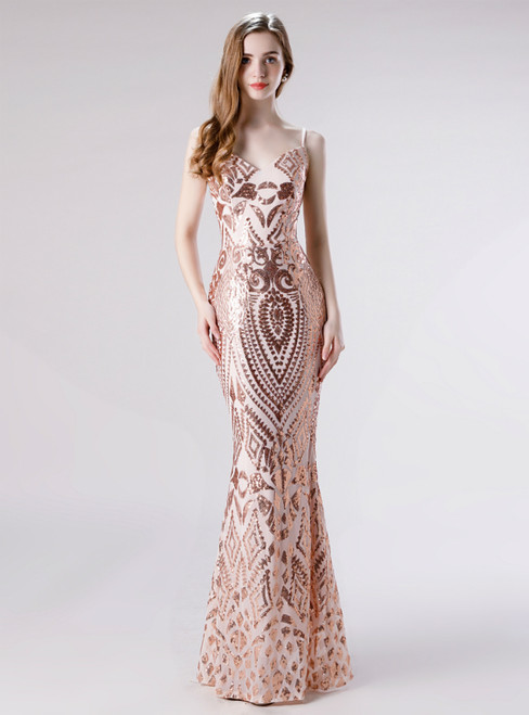 Whether You Are Looking For Gold Mermaid Sequins Spaghetti Straps Sleeveless Prom Dress