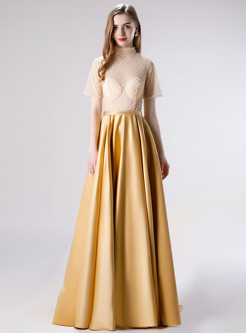 Don't Miss The Amazing & Affordable A-Line Gold Satin Short Sleeve Beading Long Prom Dress