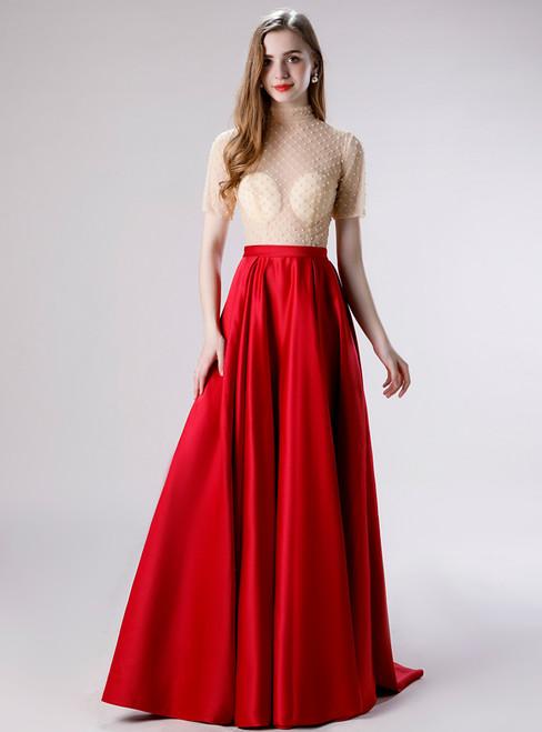 Amazing & Affordable A-Line Burgundy Satin Short Sleeve Beading Long Prom Dress