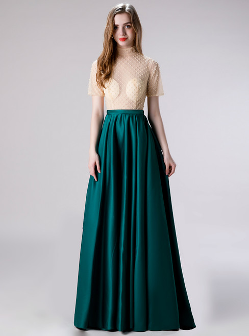 We Provide A-Line Dark GreenSatin Short Sleeve Beading Long Prom Dress