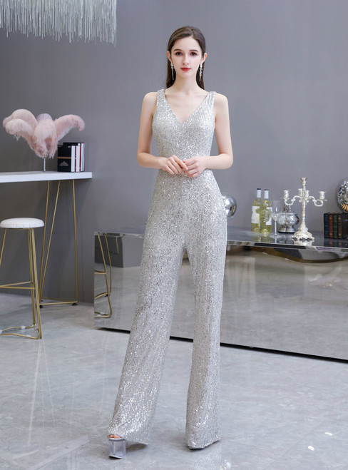 We Are The Destination For Affordable Women Silver Sequins V-neck Sleeve Party Jumpsuits