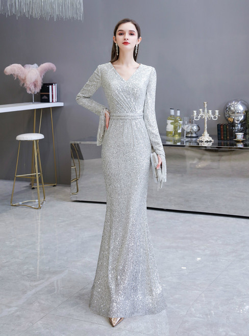 Affordable Silver Mermaid Sequins Long Sleeve V-neck Prom Dress
