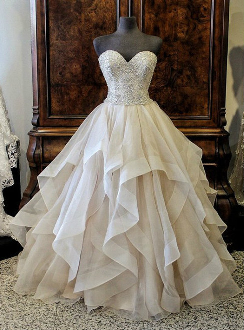Gorgeous Crystals Beading Sweetheart Organza Layered Wedding Dress Ball Gown