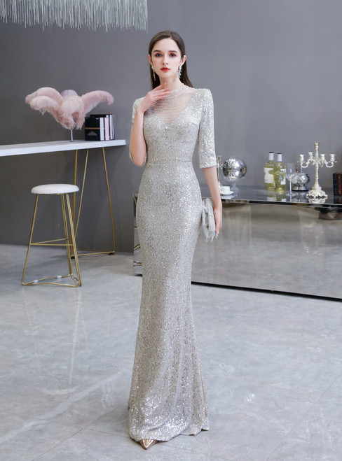 The Cheap Price In Stock:Ship in 48 Hours Silver Mermaid Sequins Short Sleeve Prom Dress