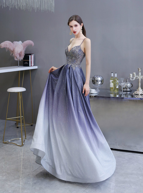 In Stock:Ship in 48 Hours A-Line Purple Gradient Starry Satin Beading Prom Dress