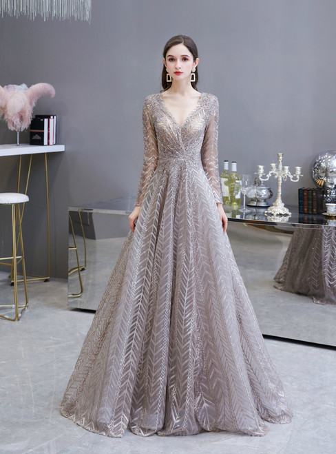 We Specialize In Custom Made A-Line Gray Embroidery Long Sleeve V-neck Beading Prom Dress