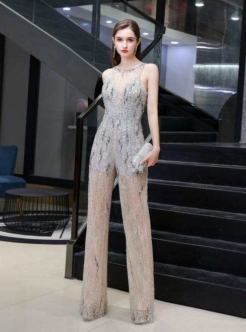 Brand New Gray Champagne Tulle Beading Sequins Party Jumpsuits