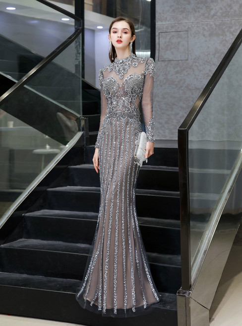 Find The Perfect Champagne Gray Mermaid Tulle Long Sleeve Beading Prom Dress
