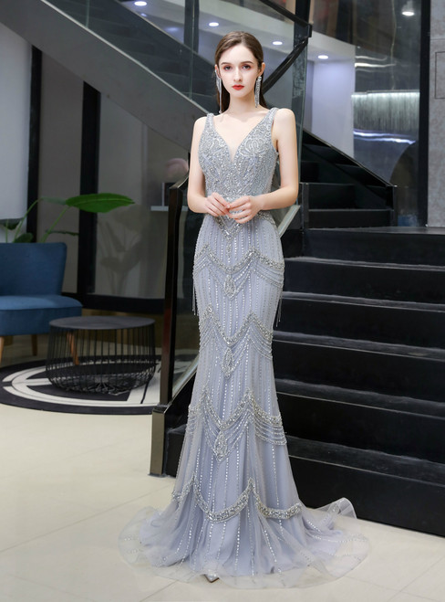 Get a Prom-Ready Look Silver Gray Mermaid Tulle V-neck Beading Prom Dress With Shawl
