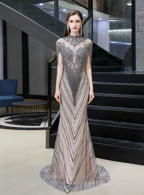 Looking For Gorgeous Champagne Gray Mermaid Cap Sleeve Beading Prom Dress