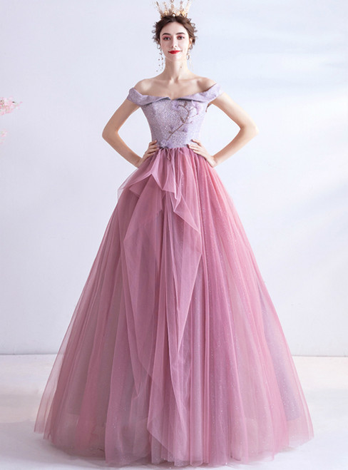 Enjoy The In Stock:Ship in 48 Hours Pink Tulle Off the Shoulder Beading Prom Dress