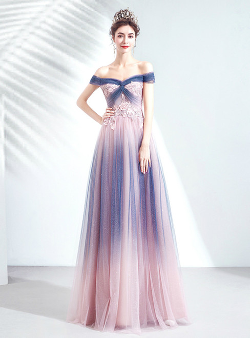 We Specialize In Custom Made In Stock:Ship in 48 Hours Blue Purple Tulle Off the Shoulder Appliques Beading Prom Dress