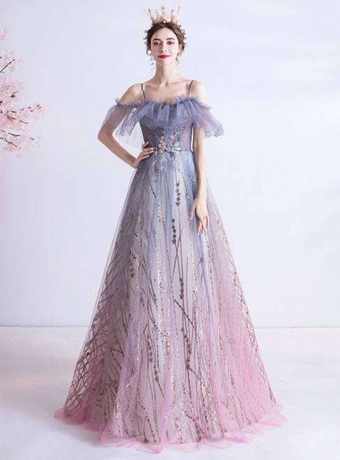 Find The Perfect In Stock:Ship in 48 Hours Purple Tulle Spagehtti Straps Appliques Prom Dress