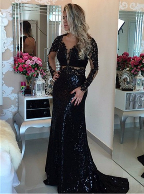 Black Long Sleeve Sequined Lace Evening Dress Popular Open Back Sweep Train