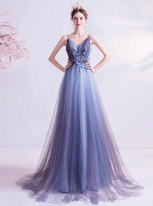 Get a Prom-Ready Look In Stock:Ship in 48 Hours Blue Tulle Appliques Pleats Beading Prom Dress