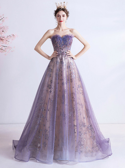 Looking For Gorgeous In Stock:Ship in 48 Hours Purpel Tulle Sequins Sweetheart Prom Dress