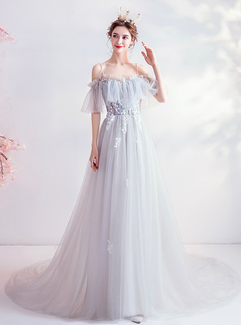 Buy The Newest In Stock:Ship in 48 Hour Tulle Light Blue Spagehtti Straps Prom Dress