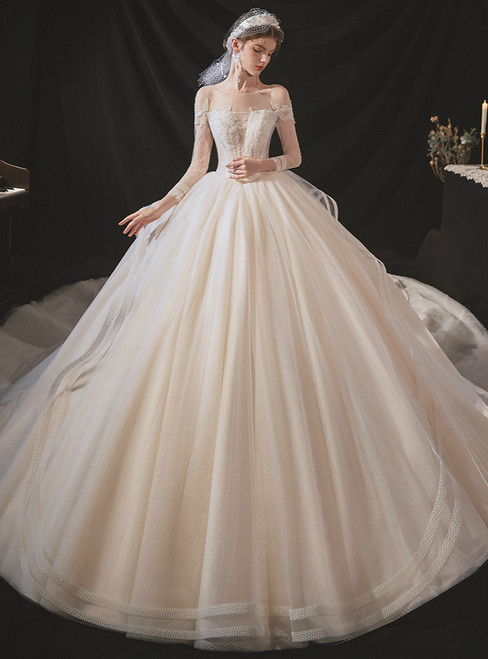 Enjoy The Champagne Ball Gown Tulle Long Sleeve Beading Backless Wedding Dress