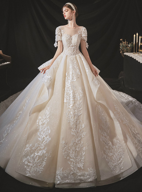 Brand New Champagne Ball Gown Tulle Appliques Short Sleeve Beading Wedding Dress