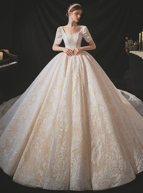 Find And Buy The Perfect Champagne Tulle Appliques Sequins Square Short Sleeve Wedding Dress