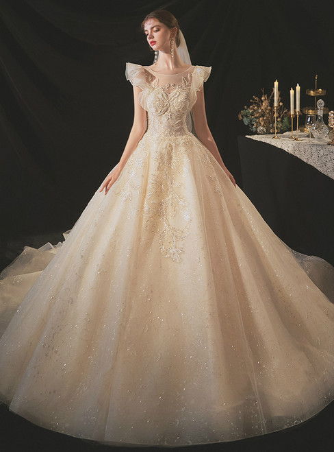 Get a Prom-Ready Look Dark Champagne Tulle Sequins Beading Wedding Dress With Train