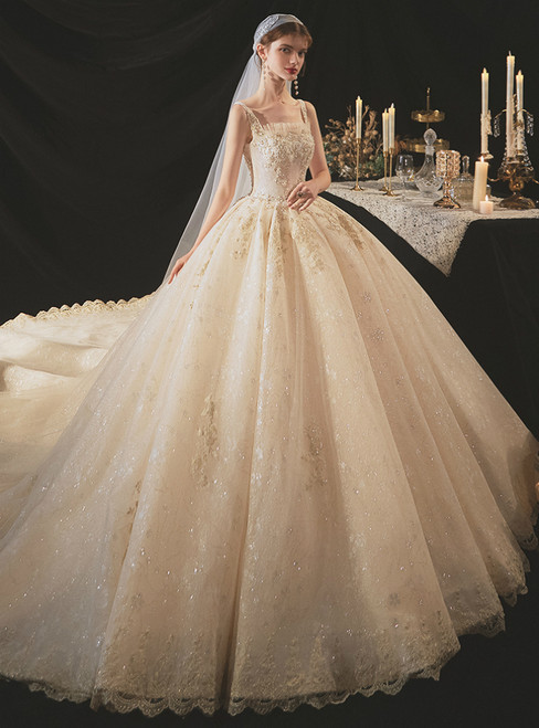 Looking For Gorgeous Dark Champagne Tulle Sequins Straps Beading Wedding Dress