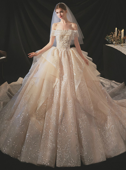 Shop Long Champagne Tulle Sequins Off the Shoulder Beading Wedding Dress