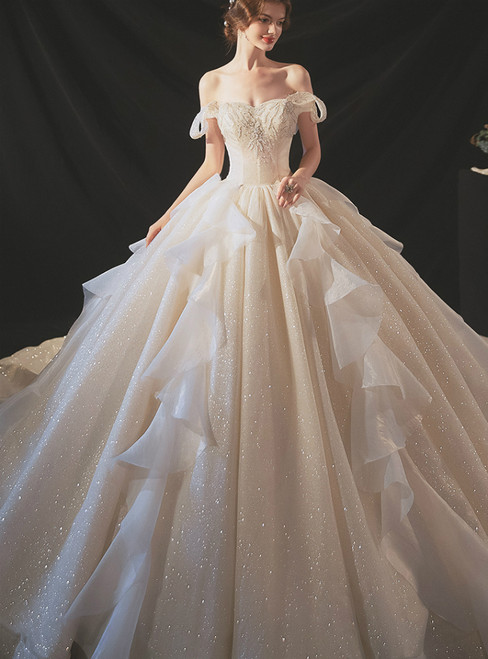 Buy The Newest Tulle Sequins Off the Shoulder Beading Champagne Wedding Dress