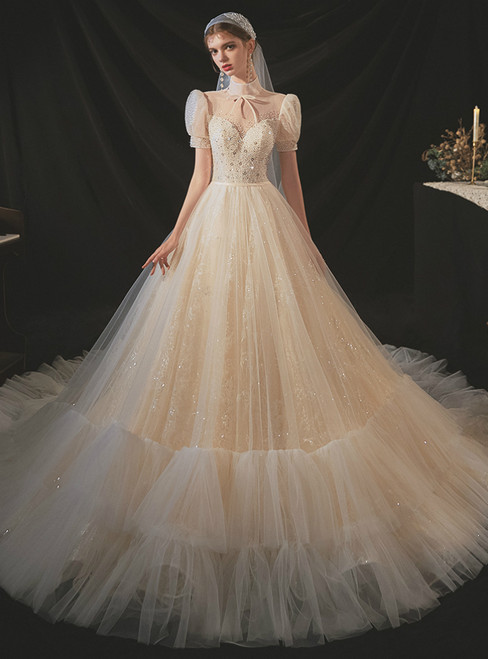 Be The Prom Queen In Champagne Tulle Sequins Short Sleeve High Neck Beading Wedding Dress