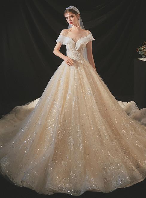 Shop Designer Champagne Tulle Sequins Backless Beading Wedding Dress