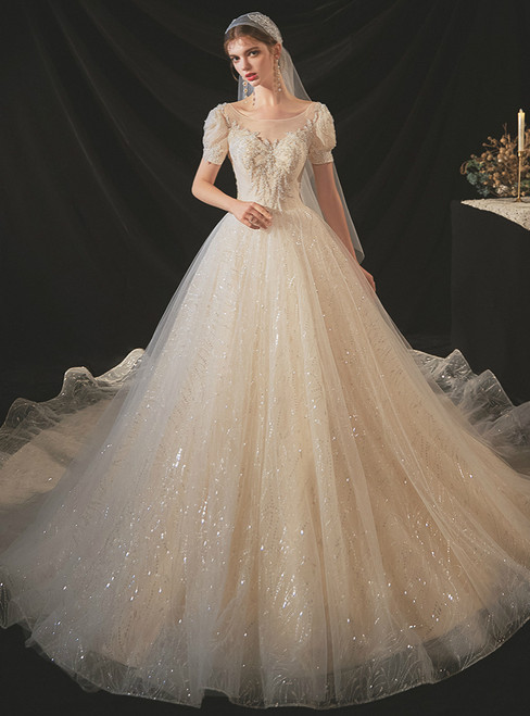 Never Miss Out On Champagne Tulle Sequins Puff Sleeve Backless Beading Wedding Dress