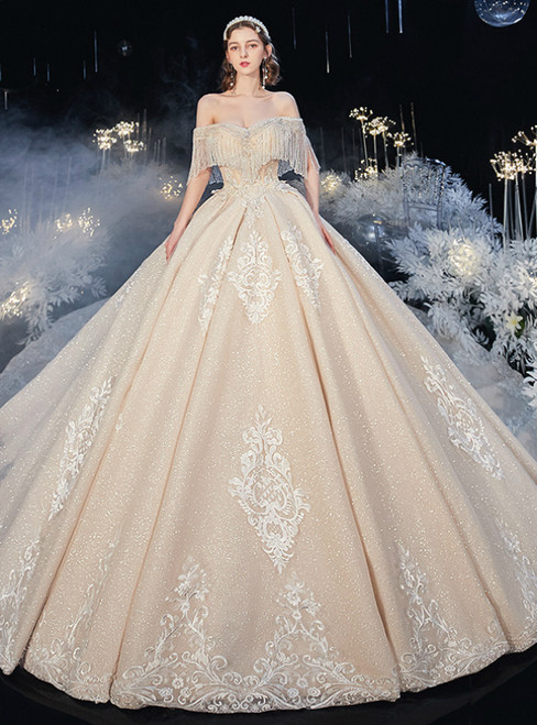 You Can Be The Star Luxury Champagne Tulle Sequins Off the Shoulder Appliques Beading Wedding Dress