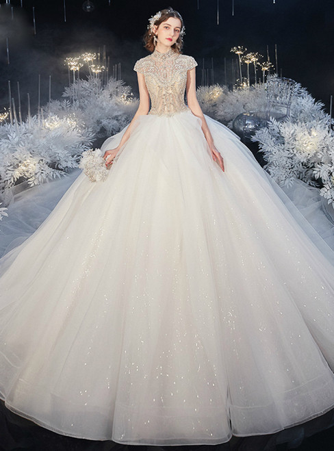 Find The Perfect Shade Of White Ball Gown Tulle Sequins High Neck Cap Sleeve Beading Wedding Dress